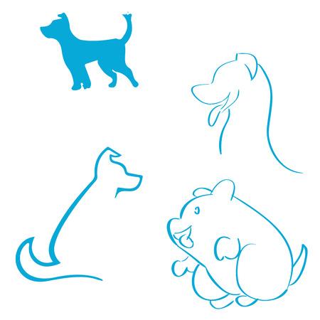 Un conjunto de dibujos de diferentes tipos de perros Foto de archivo - 31547614