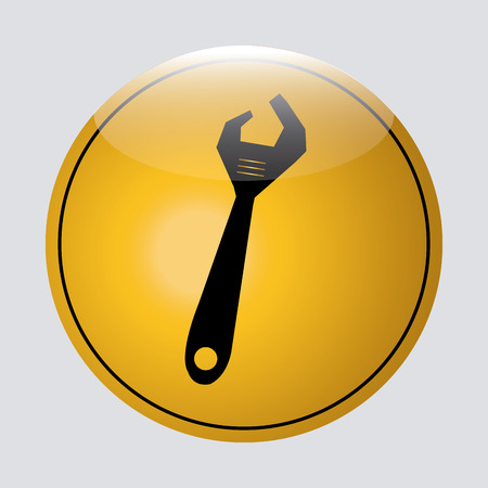 a black silhouette of a wrench on a yellow round signal Vector