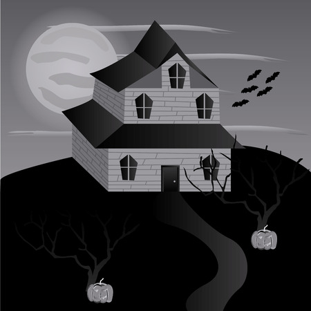 a monochrome halloween background with a haunted mansion, trees and bats Ilustracja