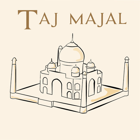 an isolated sketch of the taj majal on a white background Illustration