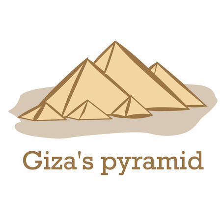 an isolated sketch of the giza's pyramid on a white background