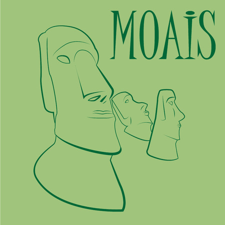 three big faces of the moais on a green background