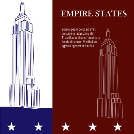 a pair of sketches of the empire states on a colored background