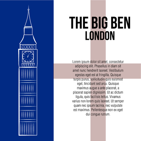 a white sketch of the big ben on a colored background