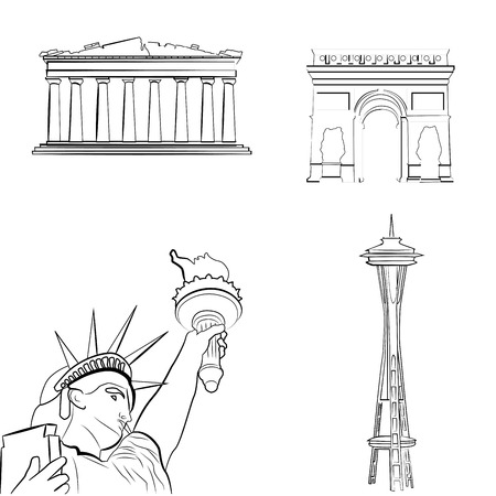 a set of sketches of famous places Vector