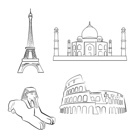 a set of sketches of famous places around the world Illustration