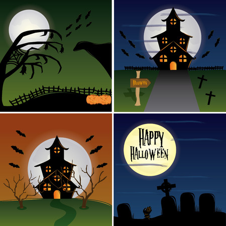 night scene: four colored halloween backgrounds with halloween related elements