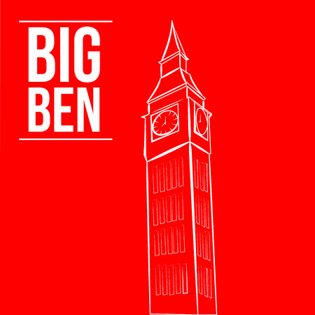 an isolated white sketch of the big ben on a red background