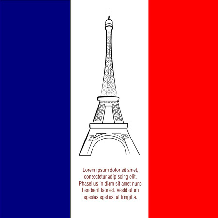 a french flag with a black silhouette of the eiffel tower Illustration