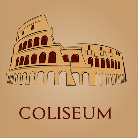 an isolated coliseum on a light brown background Illustration