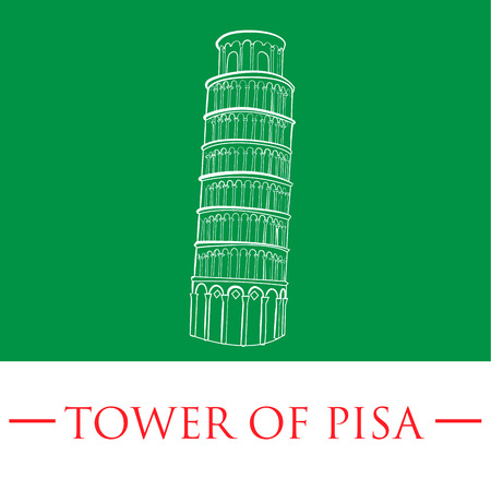 an isolated white sketch of the tower of pisa on a green background