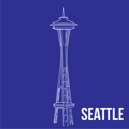 an isolated seattle tower on a blue background