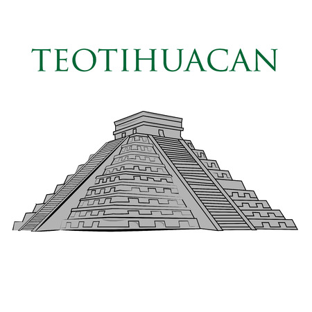 an isolated teotihuacan pyramid on a white background Illustration