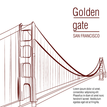 a brown sketch of the golden gate on a white background Vettoriali