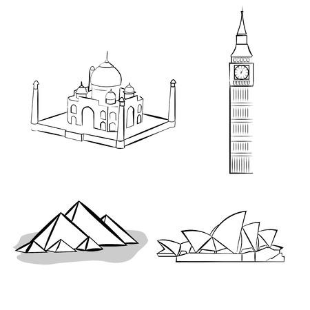 Un conjunto de bocetos de famoso lugar sobre un fondo blanco Foto de archivo - 31782259