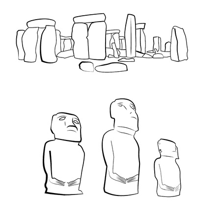 a set of sketches of ancient monuments around the world