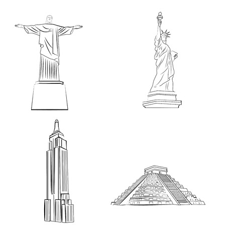 famous places: a set of sketches of famous places around the world Illustration