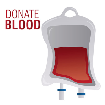 blood transfer: an isolated blood bag and text on a white background Illustration
