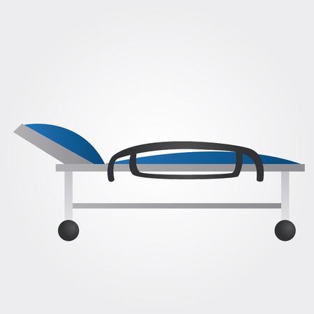 cama hospital: un aislado azul cama de hospital en un fondo blanco