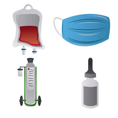 blood transfer: a set of medical related elements on a white background