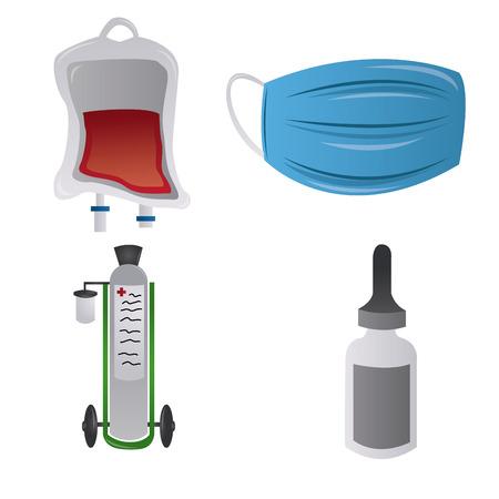 zestaw medycznych powiązanych elementów na białym tle