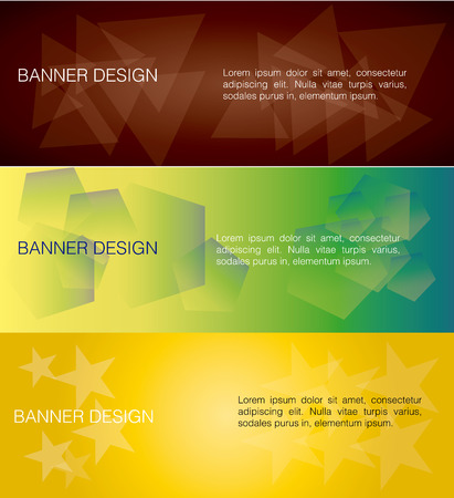 three colored: a set of three colored and different banners with text Illustration