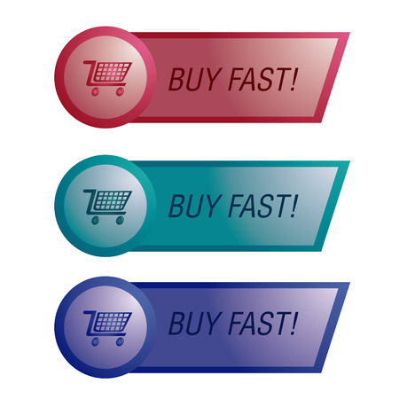 a set of three colored banners with text and shopping carts