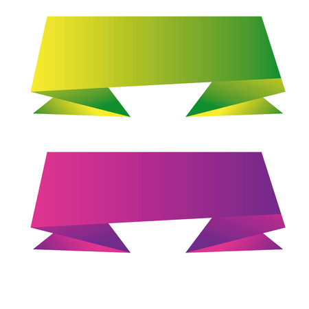 a pair of colored ribbons on a white background