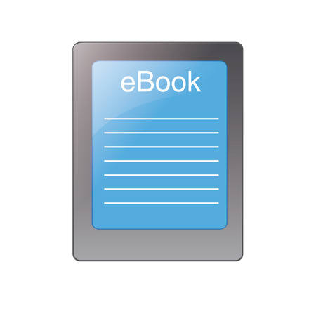 audiobook: a grey tablet with a blue screen with an ebook