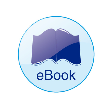 a round blue icon with text and an ebook Vector