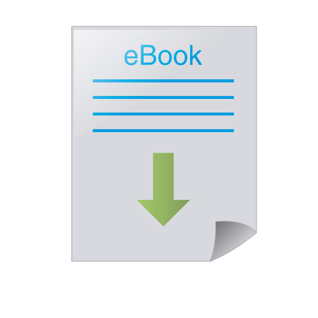 a white paper with text and an arrow for downloading an ebook Vector