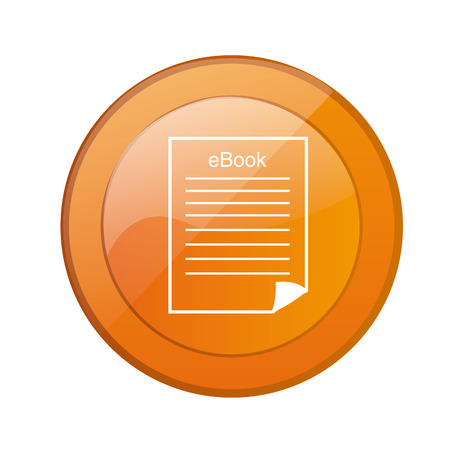 a round orange icon with a white silhouette of a page Vector