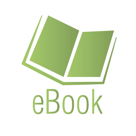 a green silhouette of an ebook on a white background Vector