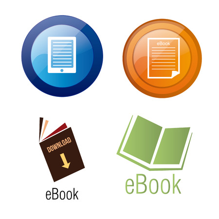 a set of different colored icons for ebook download buttons Vector