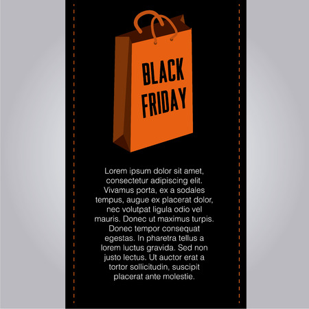 a black banner with text and an orange box for black friday