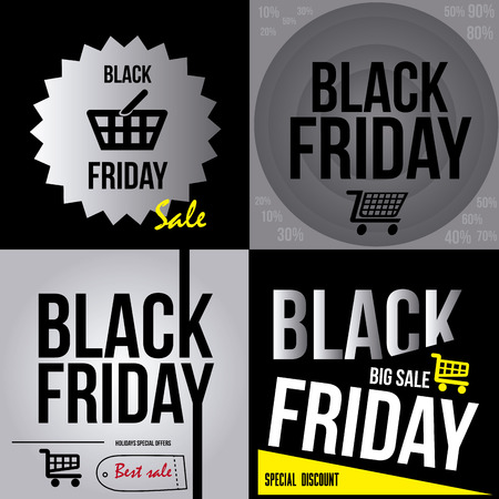 a set of black and white backgrounds with text for black friday Vector