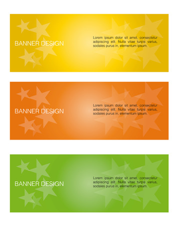 a set of three colored banners with text and stars Vector
