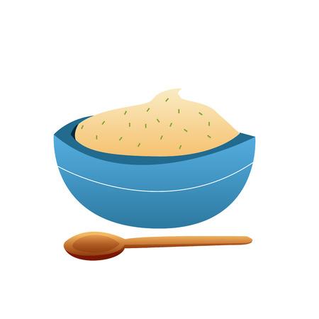 mashed potatoes: an isolated bowl of mashed potatoes on a white background Illustration