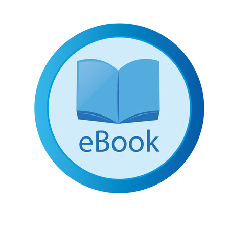 a round blue icon with an ebook inside and text Vector
