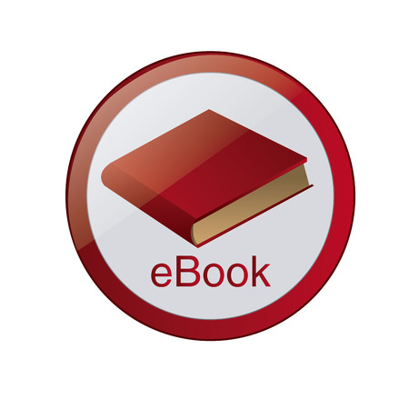 a round red icon with an ebook and text Vector