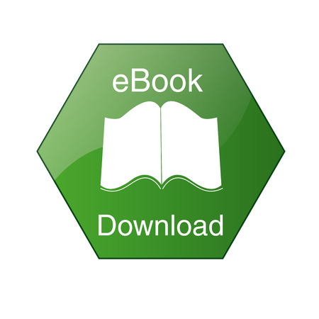 a green icon with white text and a silhouette of an ebook Vector