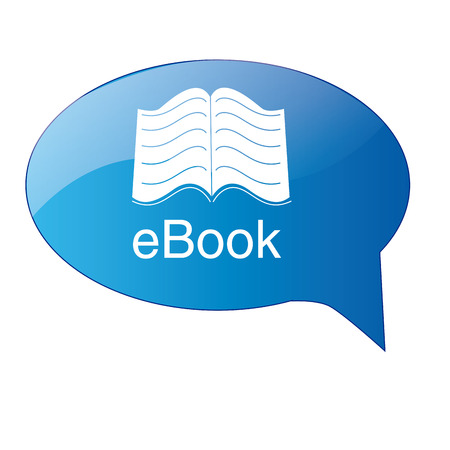 a blue chat bubble with text and an ebook Vector