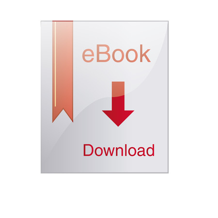 a white paper with an arrow and text for downloading an ebook Vector