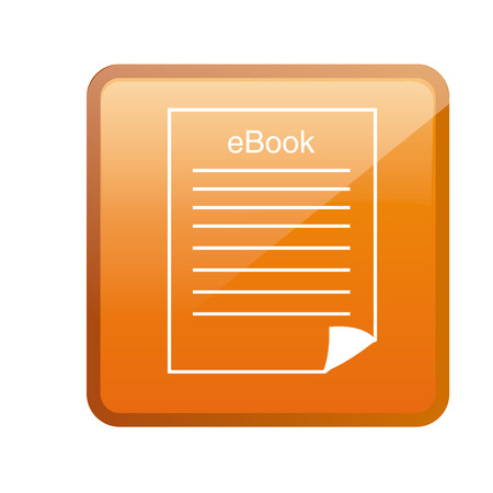 an orange squared icon with a silhouette of a paper Vector