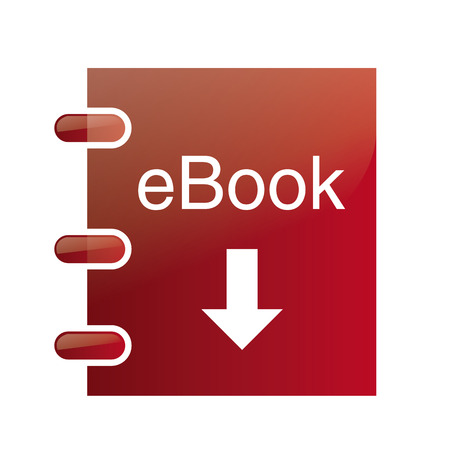 a red ebook with text and an arrow on a white background Vector