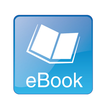 a blue squared icon with text and a white silhouette of an ebook Vector