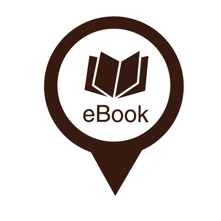 a brown pin with a brown silhouette of an ebook Vector
