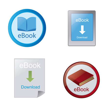audiobook: a set of different colored icons for ebook download buttons Illustration
