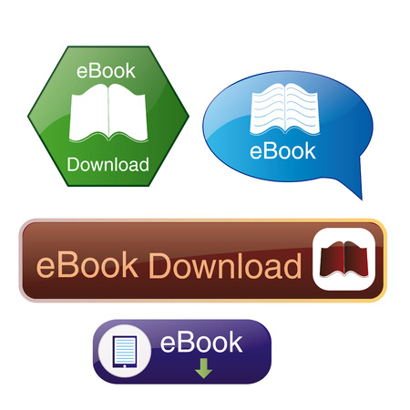 a set of different colored icons for ebook download buttons Vectores