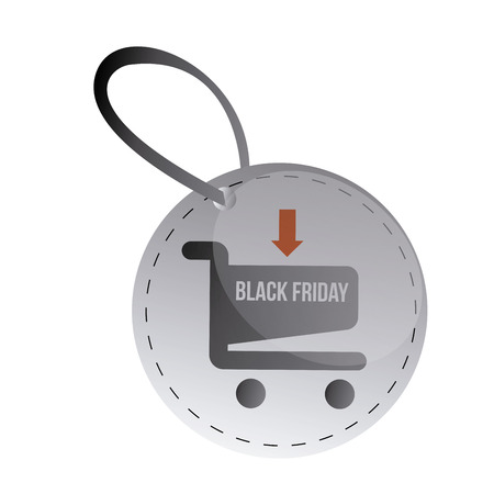 american downloads: a round button with a cart and text for black friday Illustration